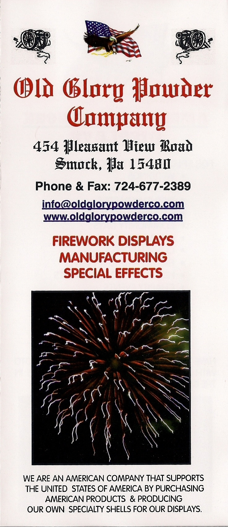 Brochure for Old Glory Powder Company to explain firework displays