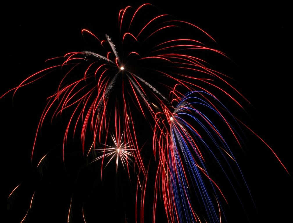 red, white, & blue canister shell fireworks in Pennsylvania