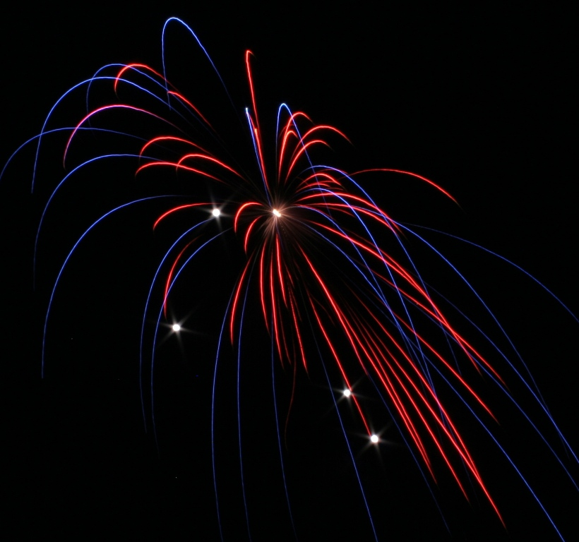 red&blue canister shell firework with artillery